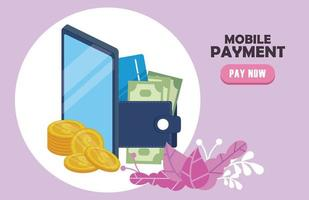 payment online technology with smartphone and wallet money vector