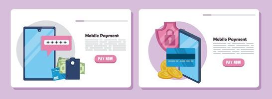 payment online technology with smartphones vector