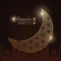 ramadan kareem card with golden moon and taj mahal vector