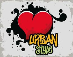 graffiti urban style poster with heart vector