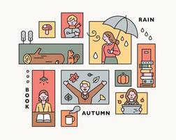 Collection of autumn collage illustrations. flat design vector minimal style.