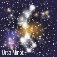 Ursa Minor Constellation with Beautiful Bright Stars on the Background of Cosmic Sky vector