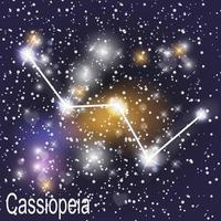 Cassiopeia Constellation with Beautiful Bright Stars on the Background of Cosmic Sky Vector Illustration