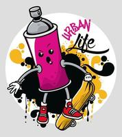 graffiti urban style poster with paint spray bottle character vector