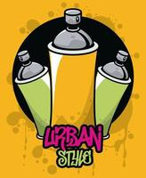 graffiti urban style poster with paint spray bottles vector