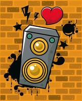 graffiti urban style poster with heart and speaker vector