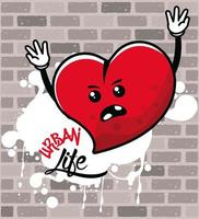 graffiti urban style poster with heart character vector