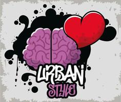 graffiti urban style poster with brain and heart vector