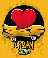 graffiti urban style poster with heart and skateboard vector