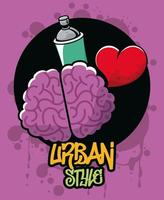 graffiti urban style poster with paint spray bottle and brain vector