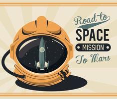 cartel de la vida en el espacio con casco de astronauta vector