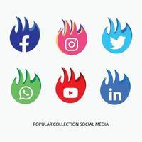 popular collection socal media Modern social media icons collection vector