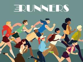 runners people characters practicing different activity lifestyle vector