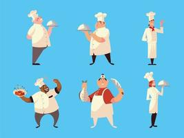 different chefs in uniform with soup dish fish and knife on blue background vector