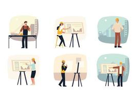 builders and architects set architectural project planning with blueprints vector