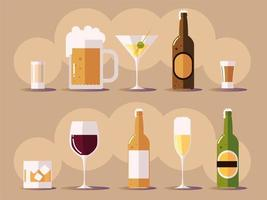 set icons with wine champagne beer botlles cups with drinks vector