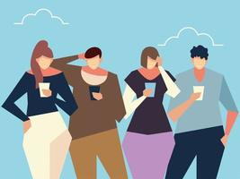 people using smartphone guys and women standing together with devices vector