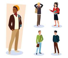 students male different nationalities with backpacks and books vector