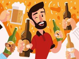 happy man with beer bottle and hands with differents drinks cheers vector