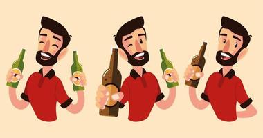 cartoon man holding different bottles of champagne and wine cheers vector