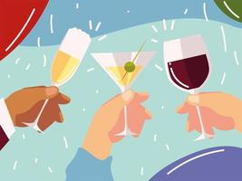 cheers hands with cocktails wine glass celebration vector