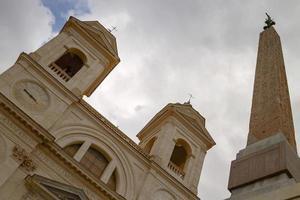 Twin Belfries of Trinita dei Monti Renaissance Church with Egyptian Obelisk photo