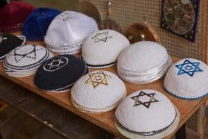 Beautiful design and collection of praying hats called Kippah or Kipa or Yarmulke photo