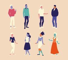 diversity people men and women characters group design vector