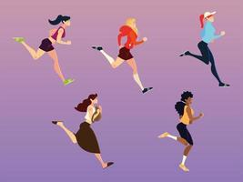 running women performing sports and others activities vector