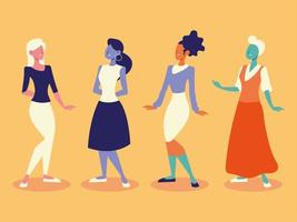 diverse group young female women standing on yellow background vector
