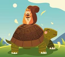 cute turtle and squirrel with acorn in the meadow cartoon vector