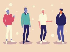 group men together standing character diversity design vector