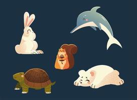 dolphin rabbit squirrel turtle and polar bear nature cartoon animals vector