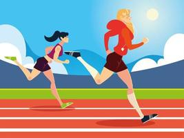 young women running activity in the race track vector