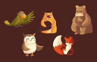 parrot bear beaver owl and fox wildlife cartoon animals brown background vector