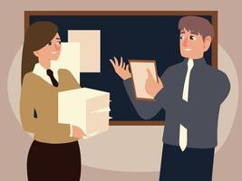 empresario y empresaria con un montón de documentos vector