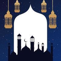 ramadan kareem card with golden lanterns and taj mahal vector