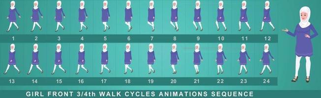 secuencia de animación de ciclo de caminata de personaje de niña vector