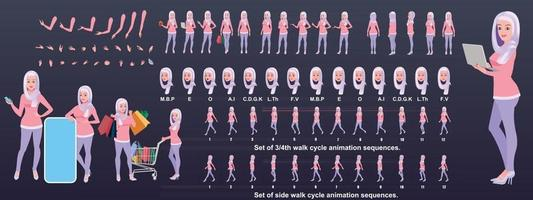 Islamic Girl Character Design Model Sheet with walk cycle animation Girl Character design Front side back view and explainer animation poses Character set with various views and lip sync vector