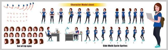 niña estudiante diseño de personajes hoja modelo diseño de personajes de niña vista frontal lateral posterior y explicador poses de animación conjunto de personajes con secuencia de animación de sincronización de labios de todas las secuencias de animación del ciclo de paseo frontal y lateral vector