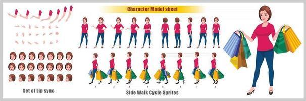 chica de compras diseño de personajes hoja de modelo diseño de personajes de niña vista frontal lateral posterior y explicador poses de animación conjunto de personajes con secuencia de animación de sincronización de labios de todas las secuencias de animación del ciclo de anverso y reverso vector