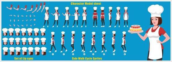 niña chef diseño de personajes modelo de hoja diseño de personajes de niña parte frontal vista posterior y explicación de la animación plantea conjunto de personajes con sincronización de labios secuencia de animación de todas las secuencias de animación del ciclo de anverso y reverso vector