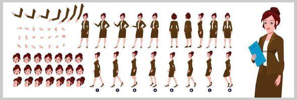 chica de negocios diseño de personajes hoja de modelo diseño de personajes de niña parte frontal vista posterior y explicador poses de animación conjunto de personajes con secuencia de animación de sincronización de labios de todas las secuencias de animación del ciclo de caminata frontal y lateral vector