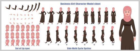 diseño de personajes de niña árabe modelo de hoja de diseño de personajes de niña vista frontal lateral posterior y explicador poses de animación conjunto de personajes con secuencia de animación de sincronización de labios de todas las secuencias de animación del ciclo de anverso y reverso vector