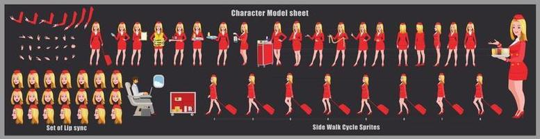 azafata niña diseño de personajes modelo de hoja diseño de personajes de niña parte frontal vista posterior y explicador poses de animación conjunto de personajes con sincronización de labios secuencia de animación de todas las secuencias de animación del ciclo de anverso y reverso vector
