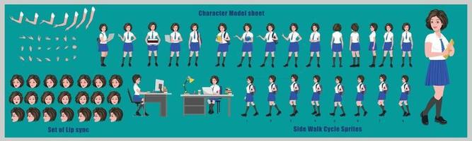 Girl student Character Design Model Sheet Girl Character design Front side back view and explainer animation poses Character set with lip sync Animation sequence of all front Back and side walk cycle animation sequences vector