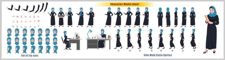 Arab Girl Character Design Model Sheet Girl Character design Front side back view and explainer animation poses Character set with lip sync Animation sequence of all front Back and side walk cycle animation sequences vector