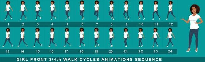 Girl Character Walk Cycle Animation Sequence vector