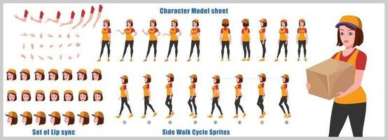 Courier Girl Character Design Model Sheet Girl Character design Front side back view and explainer animation poses Character set with lip sync Animation sequence of all front Back and side walk cycle animation sequences vector