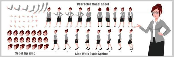 Business Girl Character Design Model Sheet Girl Character design Front side back view and explainer animation poses Character set with lip sync Animation sequence of all front Back and side walk cycle animation sequences vector